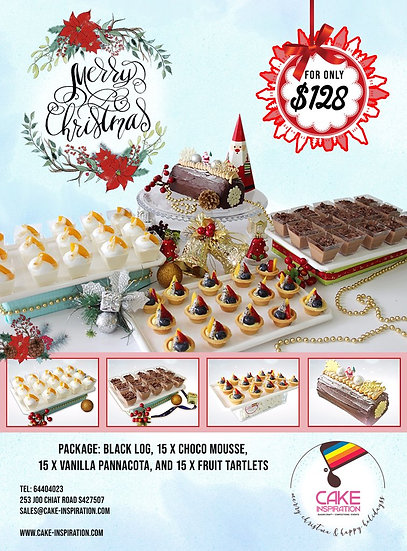 Christmas Combo package 4-in-1 Option Dark or White Xmas Log cake ( CPC#36 )