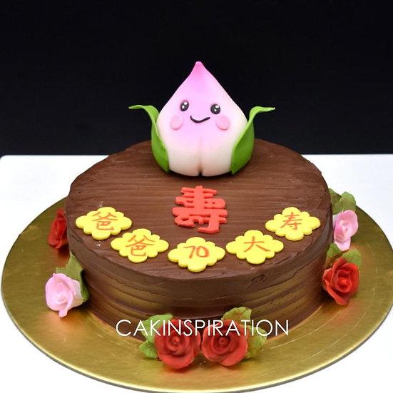 Longevity design 5- cute baby peach over belgium choc cake 蛋 糕