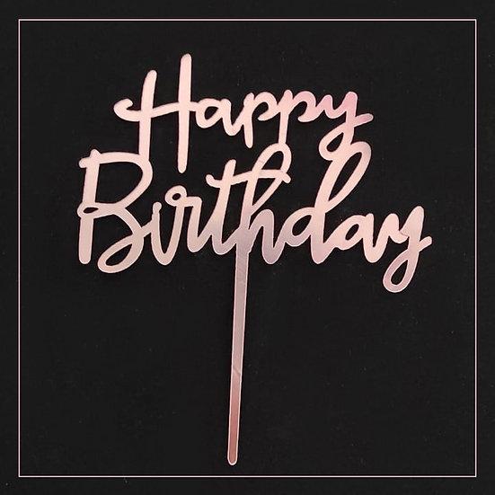 Happy Birthday - Acrylic Tag - Pink Writing