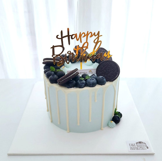 (HB04) Pastel Blue Choc Drip Oreo Blueberry Fantasy Cake - 6inch