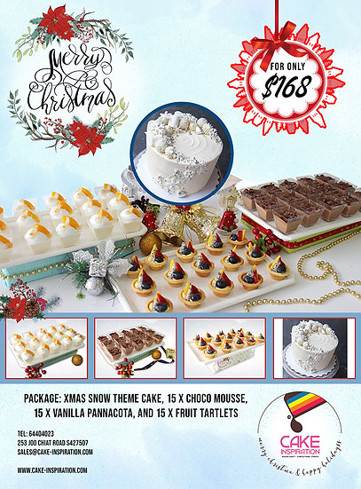 NEW! Christmas Combo package 4-in-1 with 6 inch Xmas Snow Theme Cake ( CPC#30 )