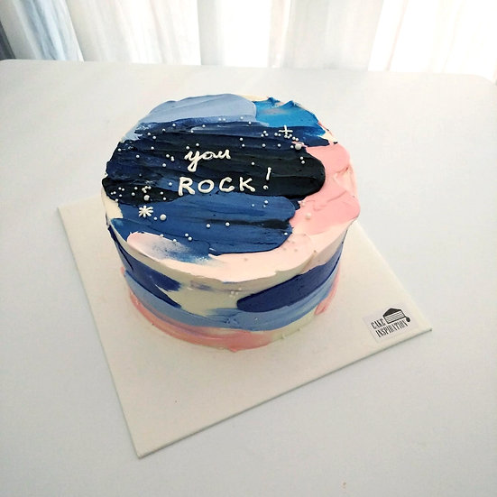 Watercolor Style - Midnight Brush Strokes Cake ( W07 )