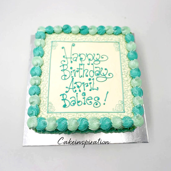 Design cake for group - design 12 - Teal swirls theme