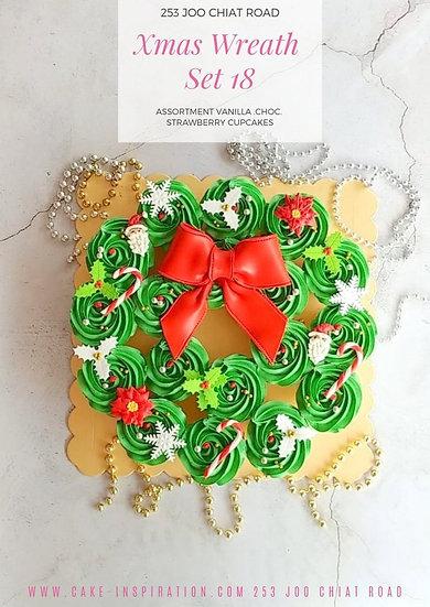 Christmas Wreath Assortment Design Cupcakes Set ( 18 Pcs ) ( CD#14 )