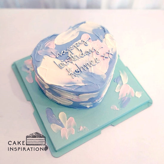 Watercolor Style - Heart Lavender Brush Strokes Cake ( W09 )