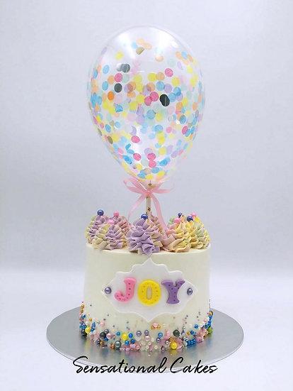Balloon confetti - design 13 (pastel pink, green, yellow and lavender confetti)