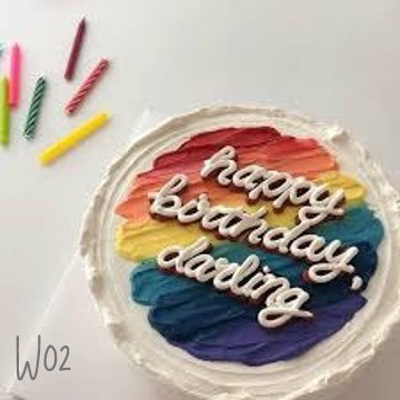 Watercolor Style - Rainbow Strokes Paint Cake ( W02 )