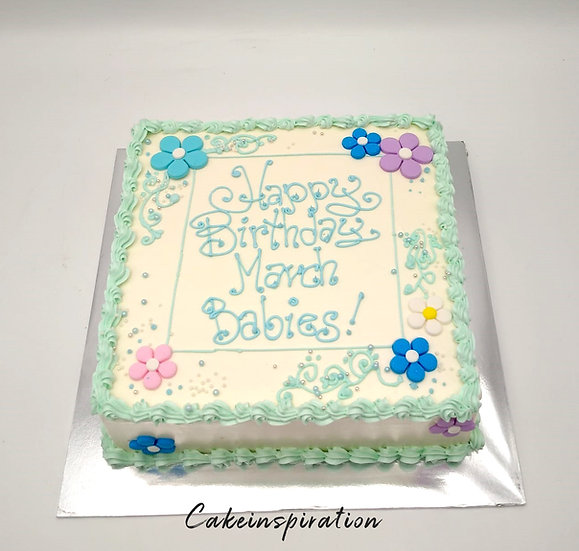 Design cake for group - design 11 - Pastel teal flora theme