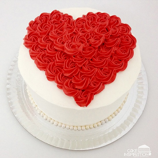 ROSETTE CREAM ART COLLECTION - DESIGN 13 (HEART SHAPE ROSETTE DESIGN RED WHITE)