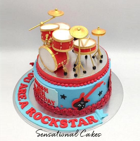 Drum Instrumental Musical Band Birthday 3d Customized Cake
