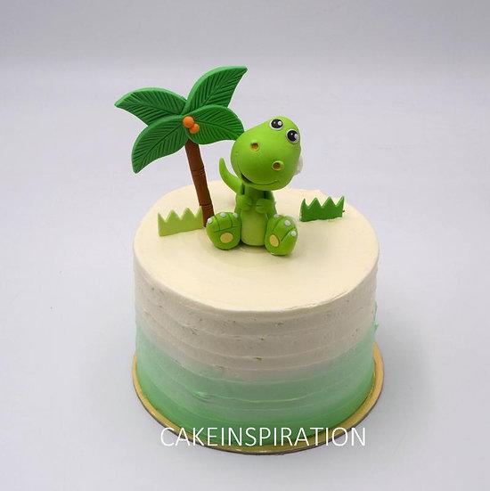 Design g /cute green dinosaur topper cake - children customized d-i-y cream art