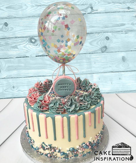 Balloon confetti - design 10 (pastel pink and teal drip confetti)