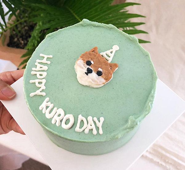 Plain Mint Green Pet Cake + Head Design