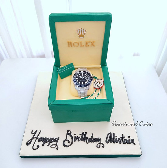 Luxury Branded Watch in High-end Box design Man 3D Customized Cake