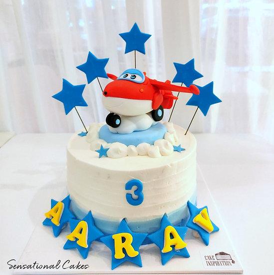 Plane Sky Blue Design Children 3D Figurine Customized Cake