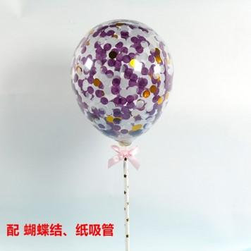 Balloon cake topper - purple silver confetti ( no 5 )