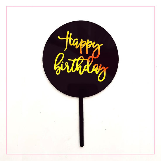Happy Birthday - Acrylic Tag - Black Round