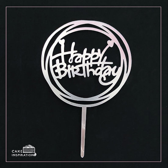 Happy Birthday - Acrylic Tag - Silver Circle