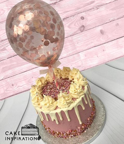 Balloon confetti - design 09 (mustard yellow and champagne pink drip confetti)