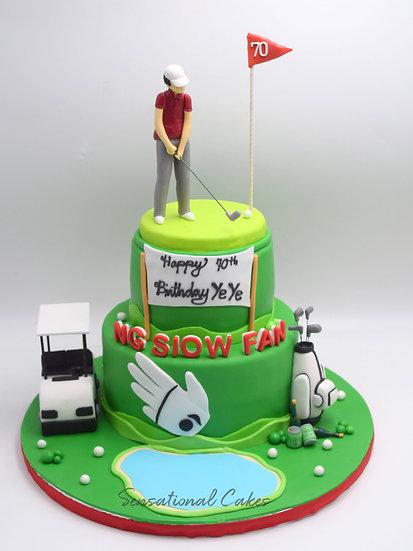 Golf Callaway Buddy Green Field 2 Tier Favorite Hobby Sports 3d Customized Cake