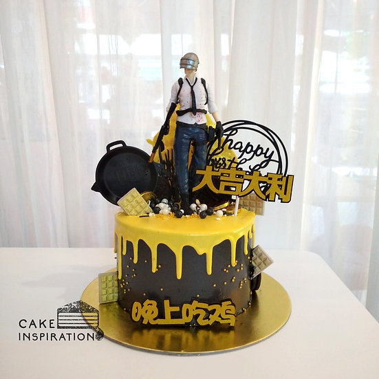 Battlegrounds Black & Gold Drip Topper Cake ( no.55 )