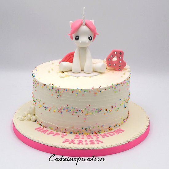 Topper collection - design 8 - white unicorn super cute with rainbow sprinkle