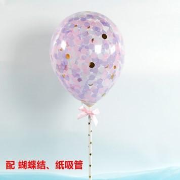 Balloon cake topper - purple gold- confetti ( no 8)