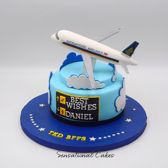 Singapore Airlines Airplane Sky Jet Pilot Customized Cake For Him