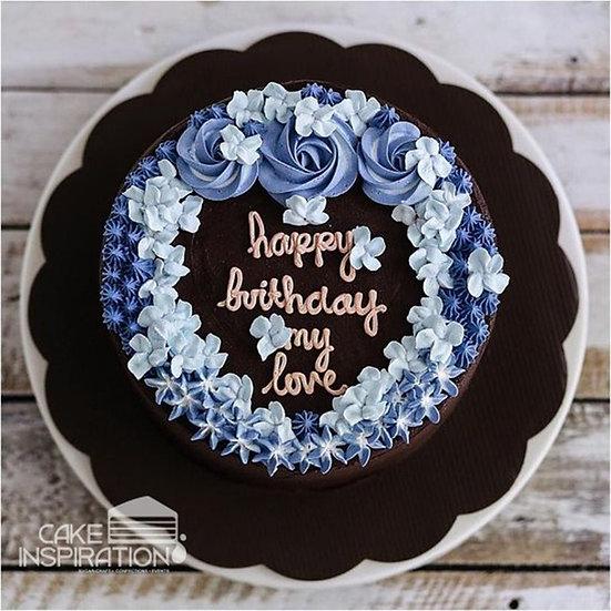 ROSETTE CREAM ART COLLECTION - DESIGN 34 ( Blue theme flora choc ganache cake )