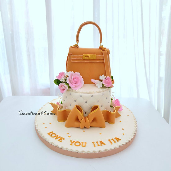 Luxury Branded Bag with Roses Ribbon Woman 3D Customized Cake