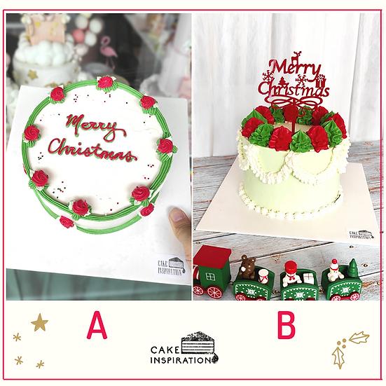 Christmas Cream Art Theme Red/Green/White 5 inch Cake ( CC#15 )
