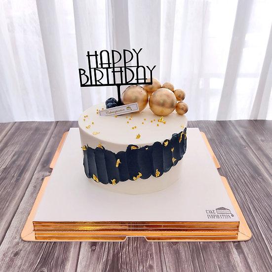 (HB10) Avant-garde Gold Black Designer Theme Cake - 6inch