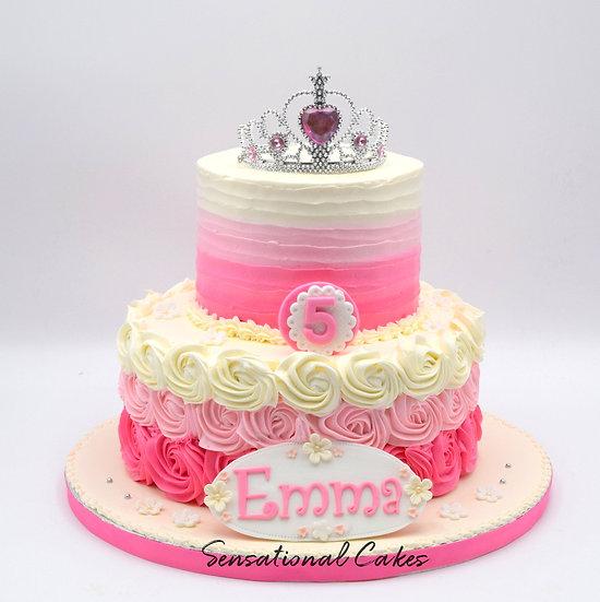 Topper collection - design 10 - Ombre rosette 2 tier princess theme