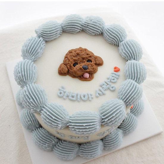 Pet Simple white with Blue Drops Designer's Theme Birthday Cake