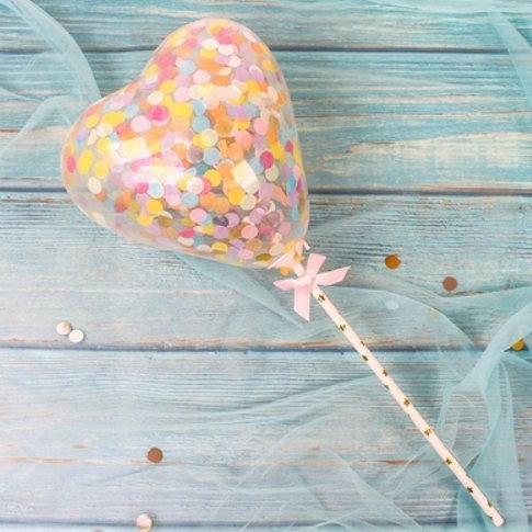 Balloon cake topper - heart shape - Rainbow confetti ( no 16 )