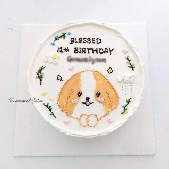 Pet Doggie Cute Korean Cartoon , Kid , Children 2D Customized Cake
