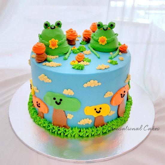Frog Pretty Adorable Cream Art Garden Theme Customized Cake