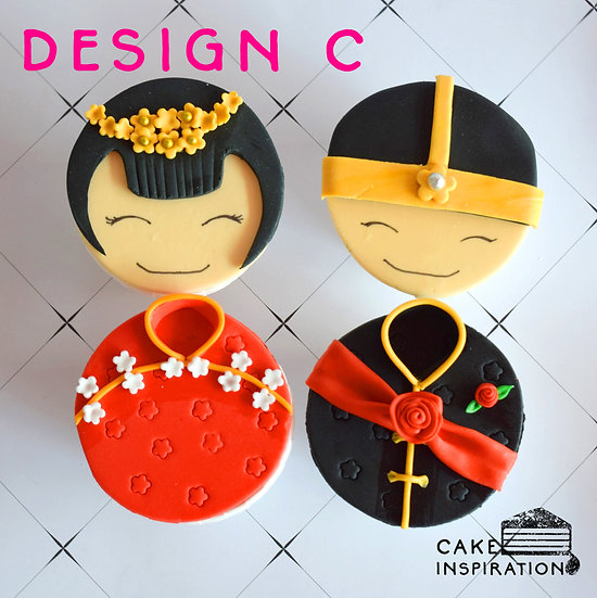 Wedding Cupcake Design C - Eastern Couple