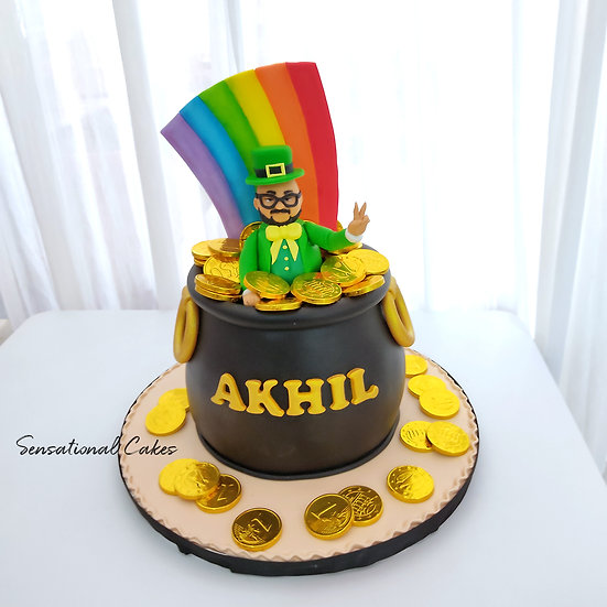 Whimsical Rainbow Irish Man Gold Pot 3D Customized Cake