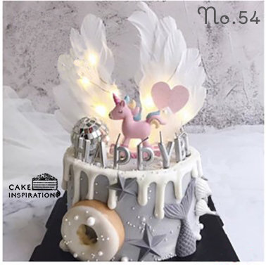 Unicorn Wing Mermaid Drip Topper Cake ( no.54 )