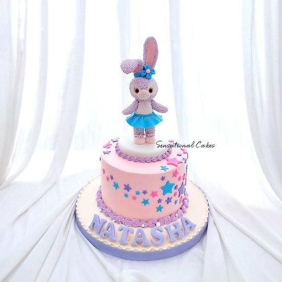 Grey Purple Bunny Animal Design Children 3D Customized Cake