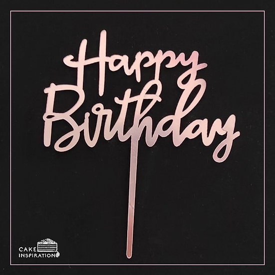 Happy Birthday - Acrylic Tag - Pink Writing