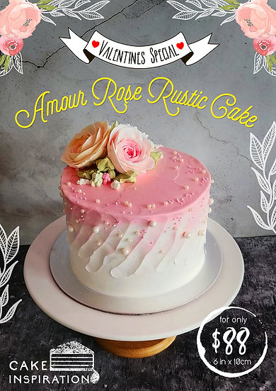 Amour Rose Rustic Cake