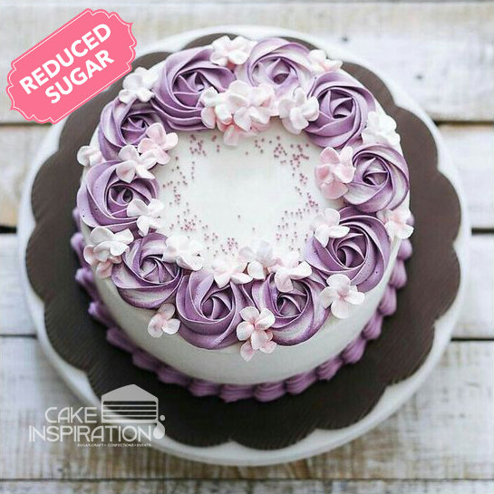 ROSETTE CREAM ART COLLECTION - DESIGN 41 ( NEW ) White pastel rose romantic cake