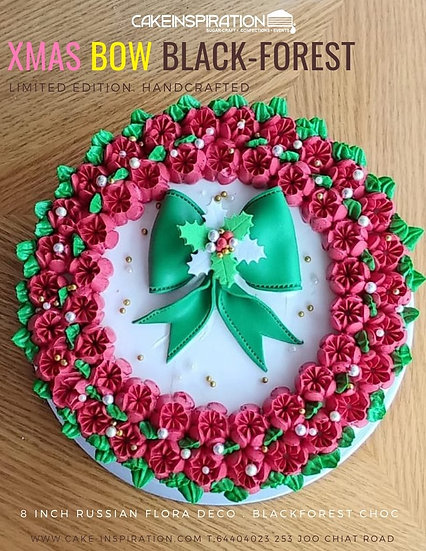 Russian Flora Wreath Xmas Bow Black Forest Cake ( CC#11 )