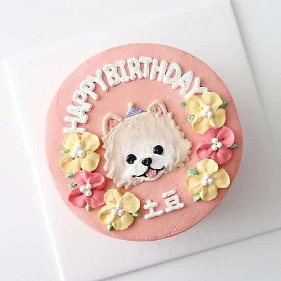 Pet Floral Pastel Design Customized Cake - 6inch