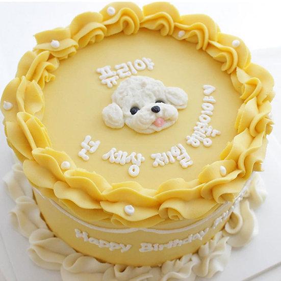 Pet Dog Ruffles Border Yellow Design Birthday Cake