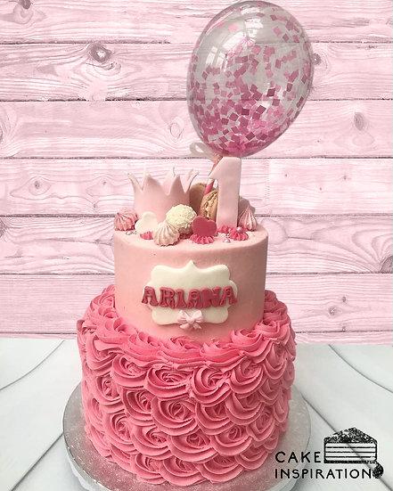 Balloon confetti - design 17 (2 tier crown princess pink rosette theme confetti)