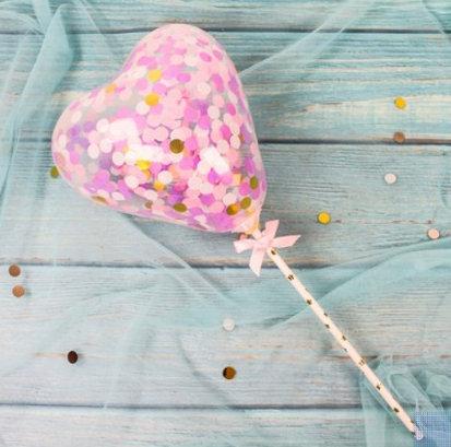 Balloon cake topper - heart shape - gold, purple confetti