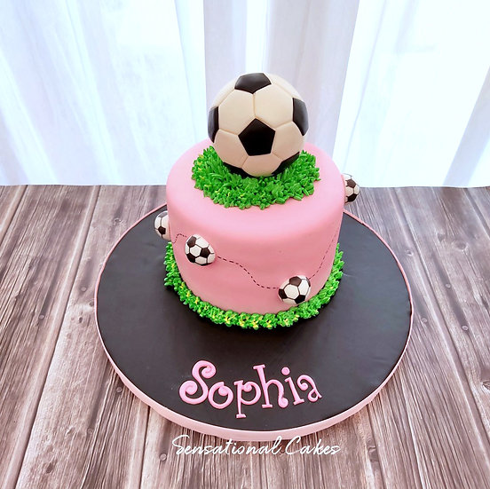Soccer Ball Sports Woman Theme 3D Customized Cake
